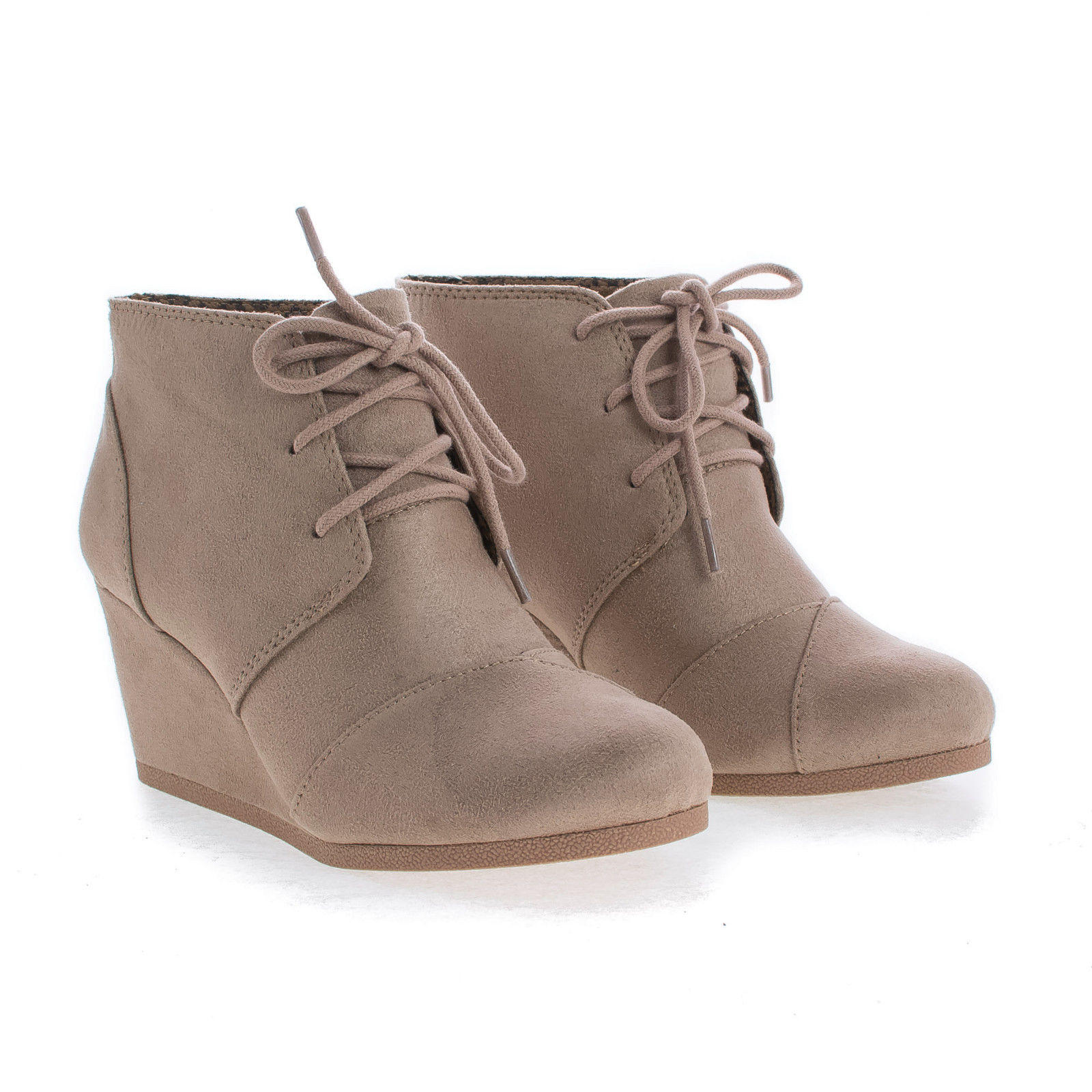 5e21ab3d85333 Rex By Soda, Lace Up Oxford Ankle Bootie Round Toe High Hidden Wedge Heel  Women's Shoe