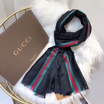 GUCCI Popular Men Women Stripe Silk Scarf Kerchief Cape Scarf Scarves Accessories Black