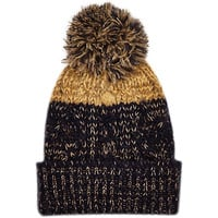 River Island Boys navy and gold bobble hat