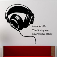 Music Wall Decal Sticker Art Decor Bedroom Design Mural Headphones Music is life quote