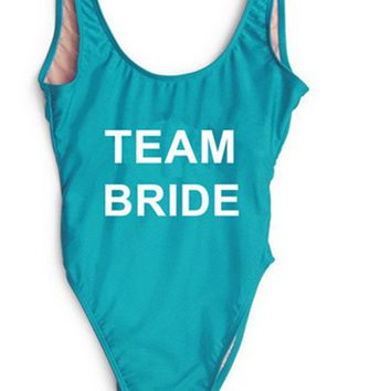 TEAM BRIDE Text Print - Women's Novelty Sports & Leisure One-Piece Swimsuit