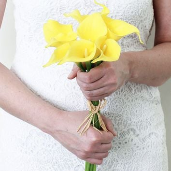 "Real Touch Small Hand-Tied Calla Lily Wedding Bouquet in Yellow - 13"" Tall"