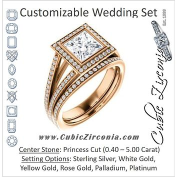 CZ Wedding Set, featuring The Maritza engagement ring (Customizable Bezel-Halo Princess Cut Style with Pavé Split Band & Euro Shank)