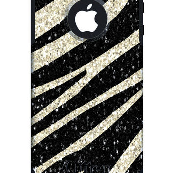 OTTERBOX Commuter iPhone 5 4/4S Case Custom Zebra Glitter Pattern Personalized Monogram