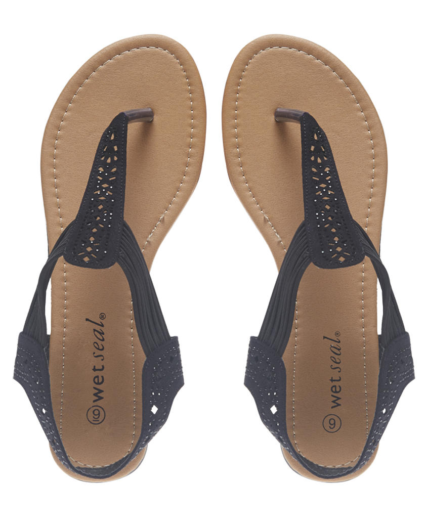 Bling Perforated T-Strappy Sandals  Wet From Wet Seal-7140