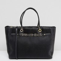Versace Jeans Plisse Tote With Gold Logo Lettering at asos.com