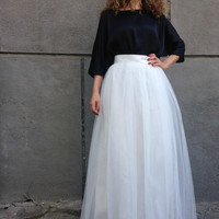 "Ivory Long Tulle Skirt, Women Tutu Skirt, Princess Skirt, Wedding Skirt - – ""Choose to be me' / EXPRESS SHIPPING / MD10001"