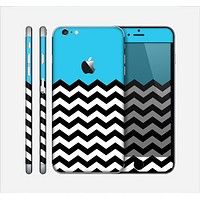 The Solid Blue with Black & White Chevron Pattern Skin for the Apple iPhone 6 Plus