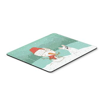 Piebald French Bulldog Snowman Christmas Mouse Pad, Hot Pad or Trivet CK2087MP