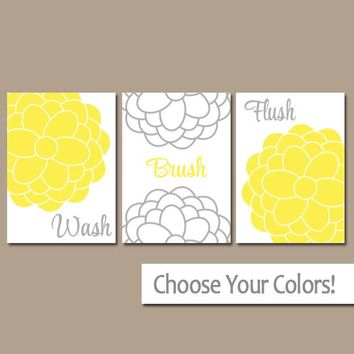 Yellow Gray BATHROOM Wall Art, CANVAS or Prints, Bathroom Wall Decor, Wash Brush Flush, Flower Bathroom Decor  Set of 3 Child Bathroom