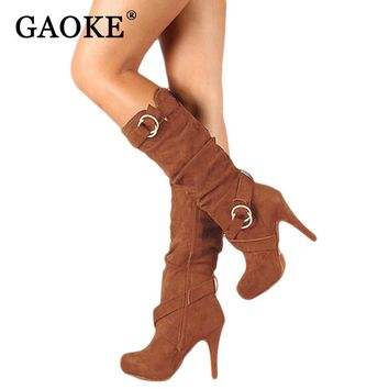 Thigh High Women's Winter Boots Faux Suede Leather High Heels Over The Knee Boots Women Plus Size Shoes Woman Size 34-43