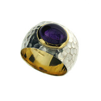 Amethyst Hammered Silver And Gold Ring