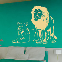 Wall Decals Lion And Lioness Animals Home Vinyl Decal Sticker Kids Nursery Baby Room Decor kk538