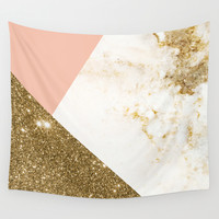 Gold marble collage Wall Tapestry by Cafelab
