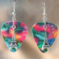 Eiffel Tower Earrings, Travel Guitar Pick Jewelry, Custom Color & Style, Pierced or Clip On Earrings