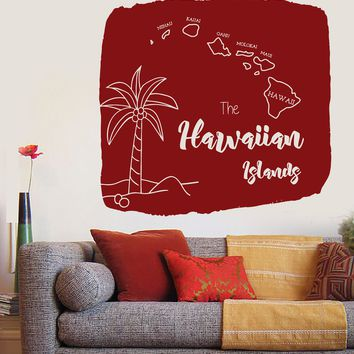 Large Wall Vinyl Decal Map of Hawaiian Islands Palm Tropical Decor (n825)