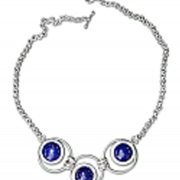 Sterling Silver and Lapis Lazuli Toggle Semicollar