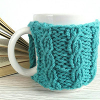 Blue Coffee Mug Cozy – Coffee Cup Cozy – Mug Warmer – Blue Mug Cozy – Knitted Cup Warmer – Coffee Mug Holder – Teal Cozy – Cable Knit Cozy