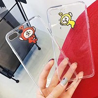 Teletubbies childhood classic cute cartoon iphone7plus/8/x transparent men and women models F-OF-SJK