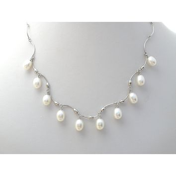 Pearl Festoon Necklace Sterling Silver OP