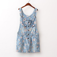 Vintage flower pockets denim braces skirt flower blue suspender skirt from Sweetbox Store