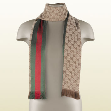 Gucci - GG jacquard knit scarf with web and fringe 1473514G7042766