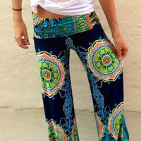 Blue Hipster Flare Flower Printed Pants