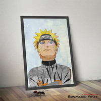 Naruto Poster - Naruto Art - Watercolor effect - Shippuuden - Printable Naruto Watercolor - Superheroes - Instant Download