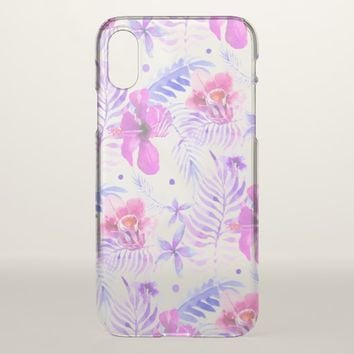 Tropical Nature Flower Watercolor iPhone X Case