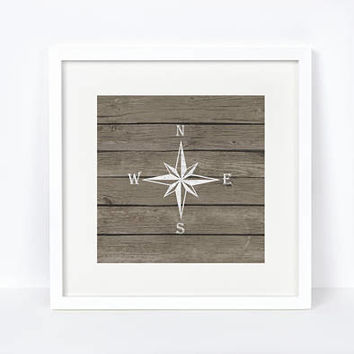 Printable, Nautical Compass, Nautical Decor, Nautical Print, Nursery Decor, Rustic Decor, Rustic, Nautical, Weathered Wood, Nursery Art
