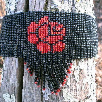 Black Handwoven Bead Choker Red Rose Center Red by SeventhChild