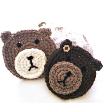 Crochet applique, Crochet applique animals, Set of 2 crochet Teddy Bear applique,Craft supply, Small nursery applique, Baby shower, Applique