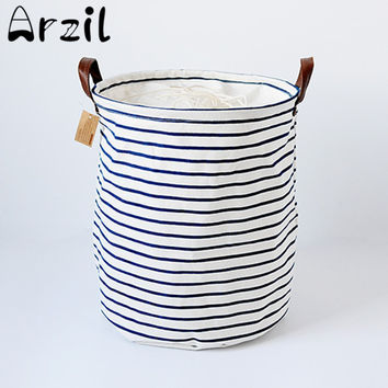 Canvas Laundry Basket Storage Bag With Leather Handles 11 Styles Animal Stripe Pattern Handbag Baby Kids Toy Clothes Room Decor