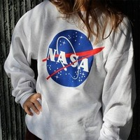 Ladies NASA Printed Long Sleeved Sweatshirt