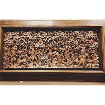 3D Large One Of A Kind Indonesian Wood Carving Wall Decor
