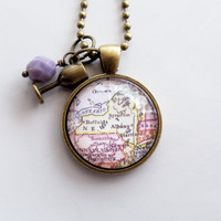 Map of New York State Necklace - Map Pendant - Custom Jewelry - The Big Apple - Travel Jewelry - Buffalo Syracuse  - NYC United States