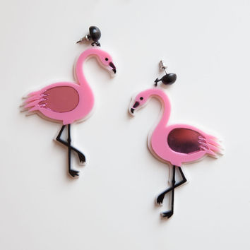 Pink Flamingo Earring