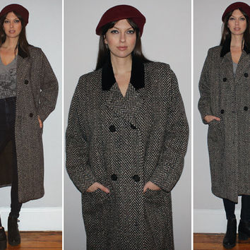 Vintage 80s TWEED + VELVET COAT / Wool Herringbone, Black, White + Brown / Oversized, Boyfriend Coat / Minimalist