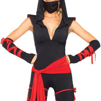 4PC Deadly Ninja catsuit with attached leg wraps waist sa