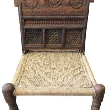 Indian Rope Chairs Rajasthani Antique Vintage Chairs Wood Carving Horse Head Design Chair