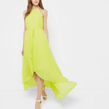 Dipped hem pleated dress - Lime | Dresses | Ted Baker