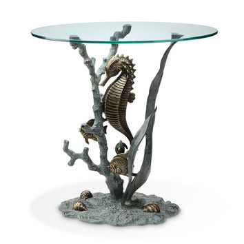 Glass Top End Table with Seahorse and Marine Life Sculpture by SPI-HOME