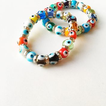 FREE SHIPPING, Evil eye charm bracelet, glass evil eye bracelet, evil eye bangle bracelet, colorful evil eye bracelet, turkish evil eye
