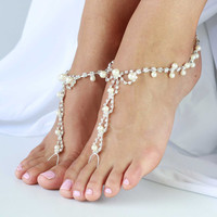 Barefoot sandals with rhinestones and pearl beads. One Size fits all - 'LAI LANI'