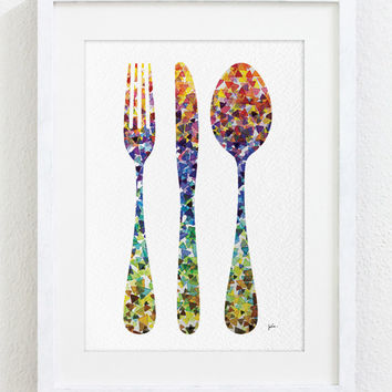Geometric Fork Knife Spoon Art, Watercolor Painting - 5x7 Archival Print - Colorful Kitchen Art - Silhouette Art Wall Decor, Housewares