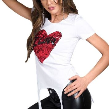 Chicloth Stunning Sequined Heart White Garter T-shirt