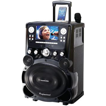 "Karaoke Usa Professional Dvd And Cd+g And Mp3+g Bluetooth Karaoke System With 7"" Tft Color Screen & Tote Wheels"