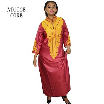 african dresses for women Dashiki  Dresses bazin riche traditional african clothing Long Sleeve For ladies without scarf  LA018#