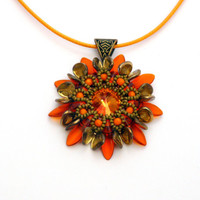 Beaded pendant, beadwork flower pendant Zioma, orange-gold-green color pendant