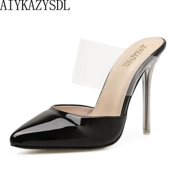 AIYKAZYSDL Women High Heel Elegant Shoes Pointy Toe Faux Patent Leather Transparent Clear Strap Mule Slide Sandals Stilettos